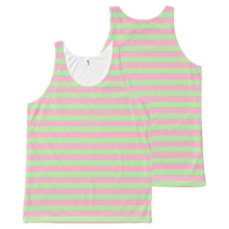 Mint Green and Pink Stripes All-Over-Print Tank Top