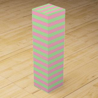 Mint Green and Pink Stripes Wine Box