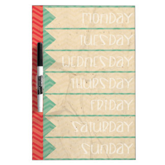 Mint Green and Red To-Do / Schedule / Chore List Dry Erase Board