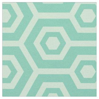 Mint-Green And Teal Green Geometric Pattern Fabric