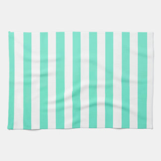 Mint Green And Vertical White Stripes Patterns Kitchen Towel