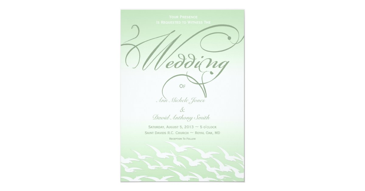 White And Green Wedding Invitations: Mint Green And White Bird Wedding Invitation