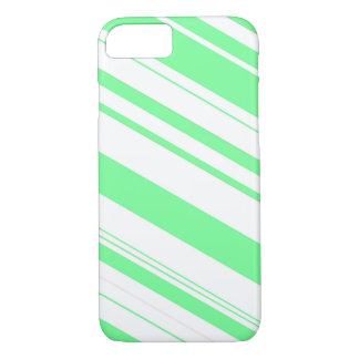 Mint Green and White Candy Cane Stripes iPhone 7 Case