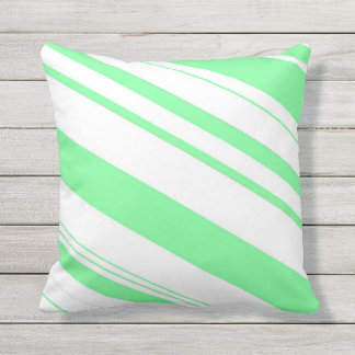 Mint Green and White Candy Cane Stripes Throw Pillow