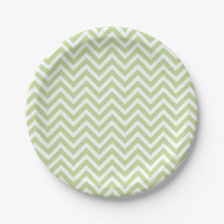 Mint Green and White Chevron 7 Inch Paper Plate