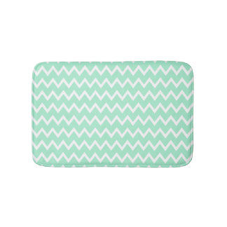 Mint Green and White Chevron Pattern Bath Mat