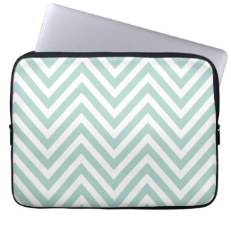 MINT GREEN AND WHITE CHEVRON PATTERN LAPTOP SLEEVE