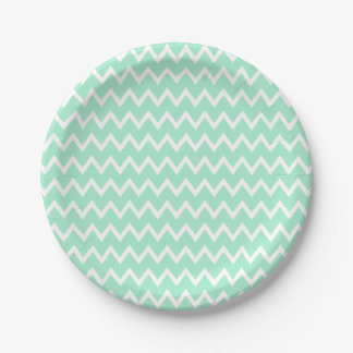 Mint Green and White Chevron Pattern Paper Plate