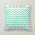 Mint Green and White Chevron Pattern Throw Pillow