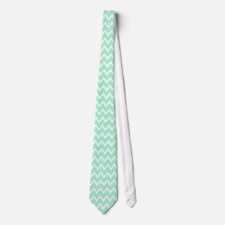 Mint Green and White Chevron Pattern Tie