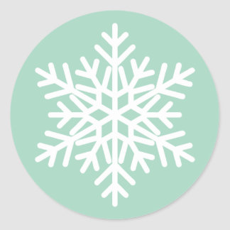 Mint Green and White Christmas Snowflake Design Classic Round Sticker