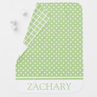Mint Green and White Dots and Checks Personalized Baby Blanket