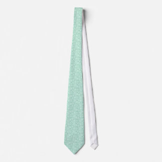 Mint Green And White Floral Damasks Pattern Tie