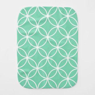 Mint Green and White Geometric Pattern Circles Baby Burp Cloths