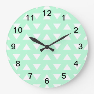Mint Green and White Geometric Pattern. Large Clock