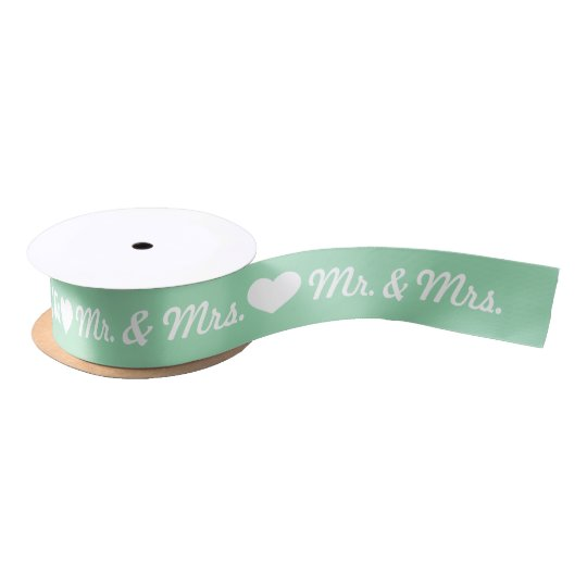 Mint Green And White Heart Mr. & Mrs. Wedding Satin Ribbon