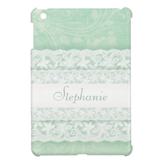 Mint green and white lace named ipad mini cover