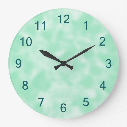 Mint Green and White Mottled Large Clock