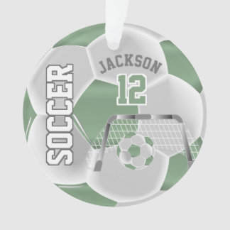 Mint Green and White Personalize Soccer Ball Ornament