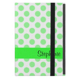 Mint Green and White Polka Dot Pattern iPad Mini Covers
