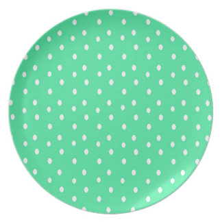 Mint Green And White Polka-Dot Plate