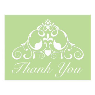 Mint Green and White Scroll Thank You Postcard