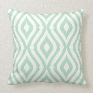 Mint-Green And White Seamless Geometric Pattern Throw Pillow
