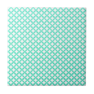 Mint Green And White Seamless Mesh Pattern Tile