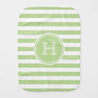 Mint Green and White Stripe Monogram Baby Burp Cloth