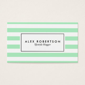 Mint green and white stripes business card