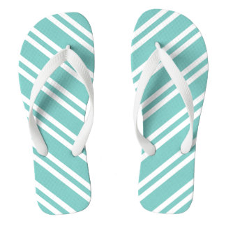 Mint Green and White Stripes Flip Flops