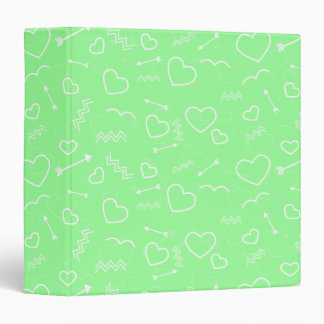 Mint Green and White Valentines Love Heart Arrow Binder