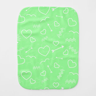 Mint Green and White Valentines Love Heart Arrow Burp Cloth