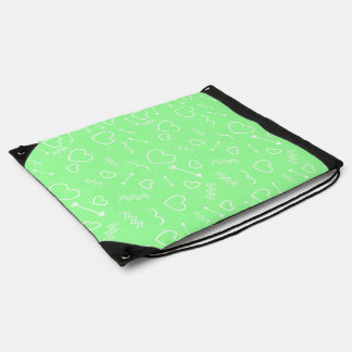 Mint Green and White Valentines Love Heart Arrow Drawstring Bag