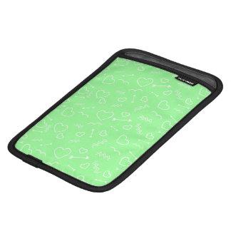 Mint Green and White Valentines Love Heart Arrow iPad Mini Sleeve