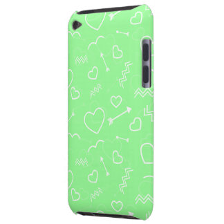 Mint Green and White Valentines Love Heart Arrow iPod Touch Cover