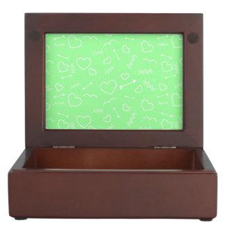 Mint Green and White Valentines Love Heart Arrow Keepsake Box