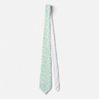 Mint Green And White Vintage Floral Damasks 4 Tie