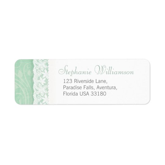 Mint green and white wedding return reply address