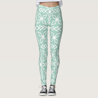 Mint Green Aqua Seafoam and White Print Leggings