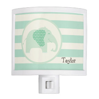 Mint Green Baby Elephant with Polka Dots Night Lite