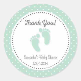 Mint Green Baby Feet Baby Shower Sticker