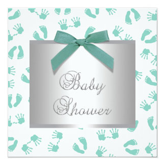 Mint Green Baby Hands Feet Baby Shower Personalized Announcement