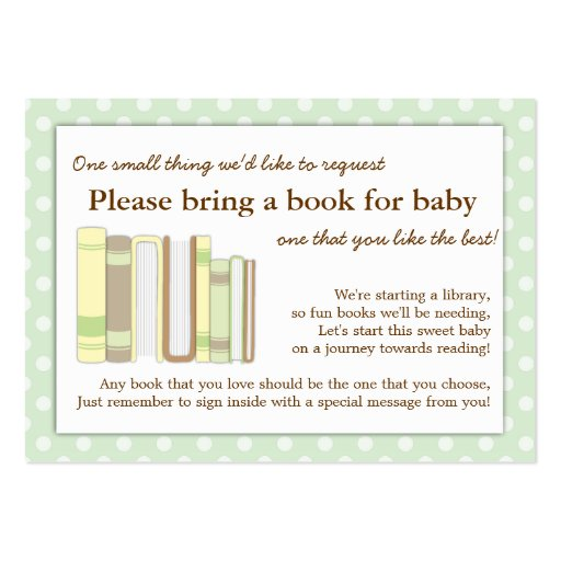 Mint Green Baby Shower Book Insert Request Card Business Cards