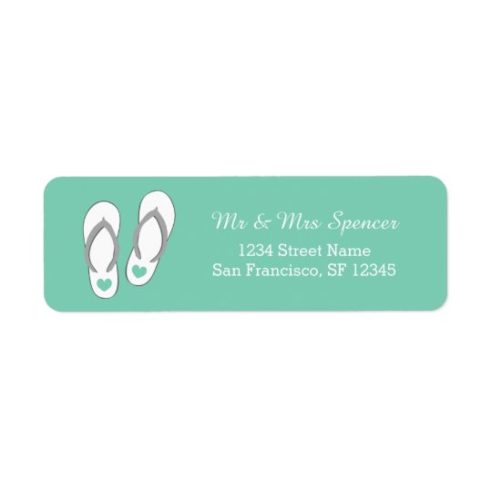 Mint green beach slippers Return Address Labels