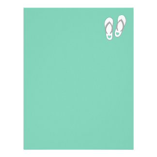 Mint green beach slippers wedding stationery letterhead design