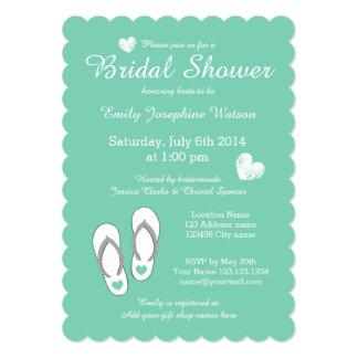 Mint Green Beach Theme Bridal Shower Invitations