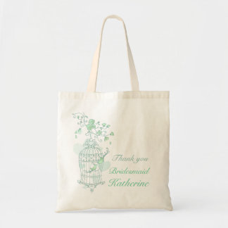 Mint green birds wedding attendant bag