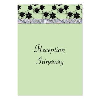 Mint Green & Black Flowers Diamond Shimmer Wedding Large Business Card