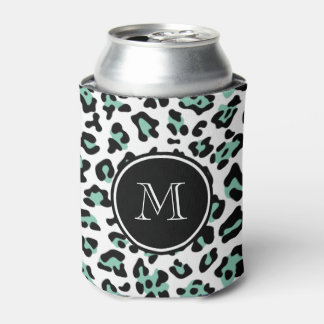 Mint Green Black Leopard Animal Print with Monogra Can Cooler